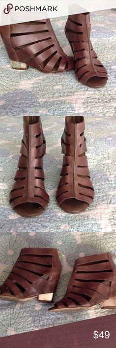 BCBG Generation Cage booties Brown BCBG caged open toe back zip boogies.  Good condition just some scrapes on the leather. BCBGeneration Shoes Ankle Boots & Booties