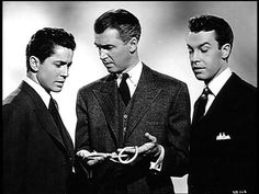 Farley Granger, Jimmy Stewart, John Dall in Alfred Hitchcock's ROPE, 1948