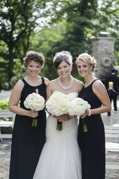 Katie's Classic Wedding with chic black and white details Black Bridesmaids, Black Bridesmaid Dresses, Wedding Dresses, Elegant Wedding, Real Weddings, Black And White, Chic, Classic, Inspiration