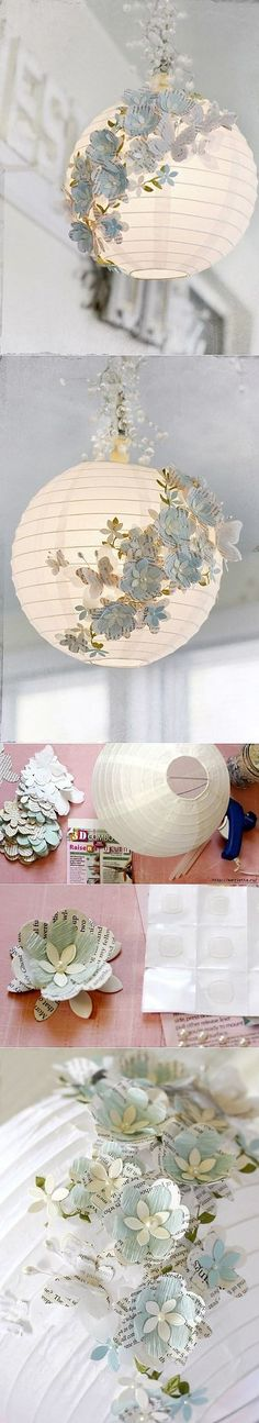 Декор бумажного абажура из Икеа