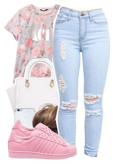 """""""waitin for pll"""" by lovebrii-xo ❤ liked on Polyvore featuring Valentine Goods and adidas Originals"""