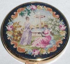 Vintage Embroidered Petit Point Powder Compact