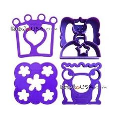 Bento decoration accessories Food Sandwich Cheese Cutter set of 4 Whimsical Shapes