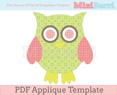 Owl Green and Pink Applique Template PDF Instant Download via Etsy