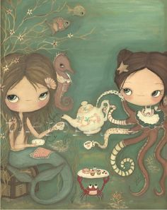 Mermaid Octopus PrintTea Under The Sea by thepoppytree on Etsy