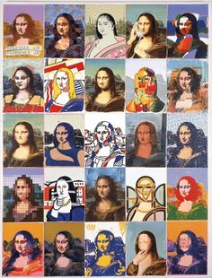 Mona Lisa if other artists did her. I like the frank stella Tableaux Vivants, Illustration Photo, Mona Lisa Parody, Ecole Art, School Art Projects, Middle School Art, Art Classroom, Art Design, Art Plastique