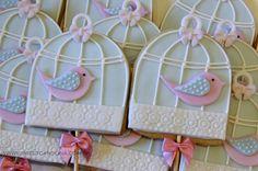 "Cookies - Sweet Carolina ""The Art of Cake"" - Gaiola passarinhos azul"