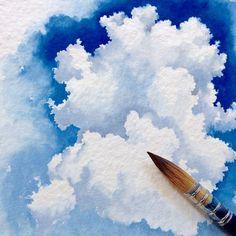 Ideas Painting Watercolor Sky Water Colors For 2019 Watercolour Tutorials, Watercolor Techniques, Art Techniques, Watercolor Clouds, Art Watercolor, Painting Clouds, How To Paint Clouds, How To Paint Watercolor, Watercolor Basic