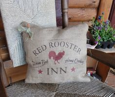 Red Rooster Inn Natural Burlap Barn Red Brown Primitive Pillow Rustic | eBay