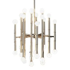 Modern BambooTwinkly chandeliers, fierce floor lamps and tantalizing table lamps poised and ready to transform your abode, flatter your features and chic-ify your life!The Meurice Collection: Polished nickel or antique brass.