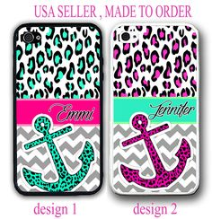 MINT HOT PINK LEOPARD GREY CHEVRON ANCHOR MONOGRAM CASE FOR IPHONE X 8 7 6S SE 5 #UnbrandedGeneric