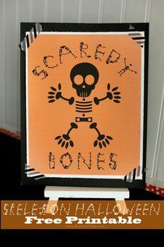 Skeleton Halloween Scaredy Bones Free Printable KristenDuke.com