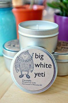 Citronella Soy Candle  6 Ounce Tin by BigWhiteYeti on Etsy