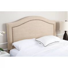 A natural for the transitional or contemporary bedroom, the Raleigh Linen Headboard from Abbyson Living combines a cool, woven fabric with metal nail head trim. The curved topline adds a touch of romance. Linen Headboard, Upholstered Headboards, Nailhead Trim, Contemporary Bedroom, Bed Frame, Bedroom Furniture, Kitchen Furniture, Bedroom Decor, Decoration