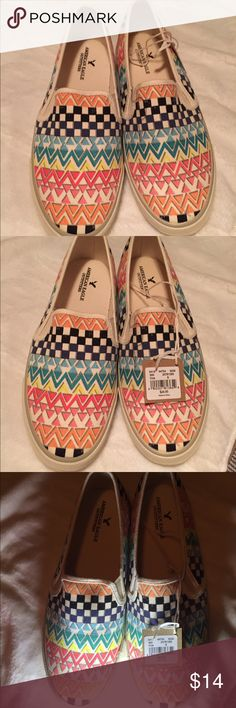AEO. TRIBAL slipon sneakers woman's 8 New with tags. And Boxkept. Never worn. . Msrp $24.95. AEO American Eagle outfitter tribal print slip on sneaks woman's 8. Comfortable.  Woman's but technically a man could possibly pull these off.  Ty! Ask ?s. Offwhite w multicolor tribal American Eagle Outfitters Shoes Sneakers