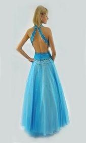 beaded blue prom dress