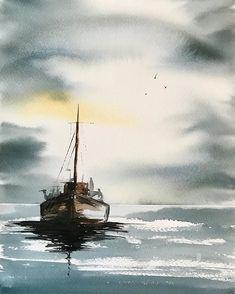 Anne Svensson Watercolor Sky, Watercolor Images, Watercolor Landscape, Watercolour Painting, Landscape Paintings, Watercolor Techniques, Painting Techniques, Sailboat Painting, Boat Art