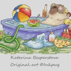 "Cross stitch design ""Pug at the Country Side"" #sa_stitch #sa_pattern #pattern #crossstitch"