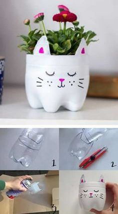 Plastic bottles are a kind of trash everybody claims to experience. But how cool it is to know that this recycle bin object can be upcycled in various crafty and useful ways! 3 Most Amazing Ways To Reuse Plastic Bottles That Will Stupify You - Crafts Zen Plastic Bottle Planter, Empty Plastic Bottles, Plastic Bottle Crafts, Diy Bottle, Soda Bottle Crafts, Plastic Recycling, Bottle Garden, Plastic Art, Diy Home Crafts
