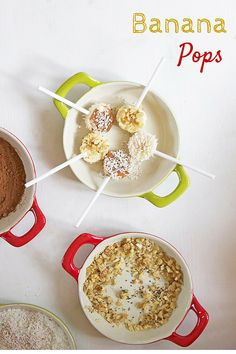 Banana pops are a fun and healthy snack to offer your kids. They will love dipping the bananas in the different toppings and then eating their creation.