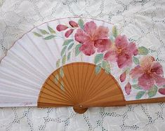 This is a beautiful painting on a fan by myself, only the fan, the blouse is one example if you desire a personalized one. Measures: -Unfolded, its x x inches) -Folded, its x x inches) Folding fans have a long history of tradition in Spain. Painted Fan, Hand Painted, Antique Fans, Chinese Fans, Princess Outfits, Beautiful Paintings, Hand Fan, Quilling, Tea Party