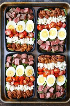 Steak Cobb Salad Meal Prep — Prep for the week ahead! Loaded with protein, nutr… Steak Cobb Salad Meal Prep — Prep for the week ahead! Loaded with protein, nutrients and greens! Plus, this is low carb, easy peasy and budget-friendly. Lunch Meal Prep, Meal Prep Bowls, Healthy Meal Prep, Healthy Snacks, Healthy Eating, Healthy Recipes, Keto Meal, Diet Recipes, Simple Meal Prep