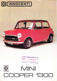 Innocenti Mini Cooper brochure Designed by the Italian Bertone company Red Mini Cooper, Mini Cooper Classic, Mini Cooper Clubman, Mini Countryman, Classic Mini, Classic Cars, Austin Mini, Austin Cars, Minis