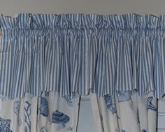 Treasures Ticking Stripe Valance, Blue Judy King, Clean Bedroom, Ticking Stripe, Valance Curtains, Valances, Bed Covers, Blue Stripes, Kitchen Remodel, Mattress