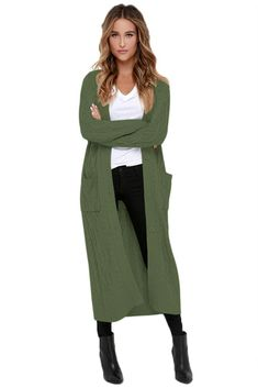 Army Green Cable Knit Long Cardigan sweater pullover pull over weather winter warm cozy comfortable comfy autumn fall cold cheap cute affordable online shopping store boutique womens women woman ladies lady juniors junior clothing fashion clothes Green Cardigan Outfit, Maxi Cardigan, Cardigan Outfits, Long Cardigan, Look Jean, Very Short Dress, Cap Dress, Plus Size Maxi Dresses, Lace Dresses