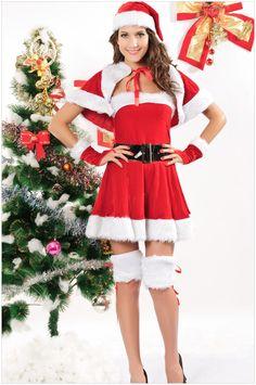 ad24eb76f2ed YueLian Women Christmas Lingerie Costumes Miss Santa Dress Cape Hat Set