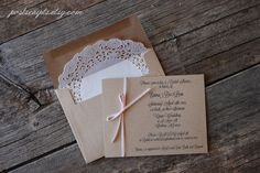 Custom Vintage Ribbon Wedding Invitations - Script - Lace Doily Envelope - Baby or Bridal Shower - Engagement - Rustic Party - Shabby Chic. $2.00, via Etsy.