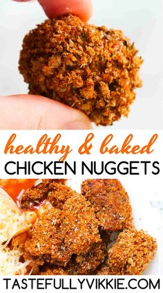 This healthy baked chicken nuggets recipe is the perfect replacement as a KFC fakeaway or McDonald's chicken nuggets. They're breaded, delicious and much easier to make than you think and you know exactly what you've put in them! Baked Chicken Nuggets, Chicken Nugget Recipes, Healthy Baked Chicken, Great Recipes, Healthy Recipes, Healthy Food, Old Chicken Recipe, Mcdonalds Chicken, Family Meals