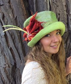 A personal favorite from my Etsy shop https://www.etsy.com/ca/listing/264189963/felt-hat-wet-felted-hat-green-hat-cloche