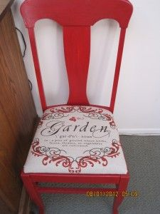 Vermillion Red Farmhouse Chairs with Faux Feed Sack Script Toile