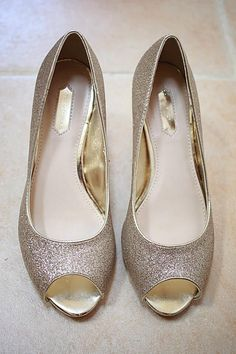 Wedding shoes dorothy Perkins gold glitter peep toe. Photography by Sara callow