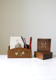SOLD Vintage wood and brass boxes/ retro office accessories/ wooden trinket boxes/ letter holder organizer/ unique vintage gift https://www.etsy.com/au/shop/RetroandRosesvintage