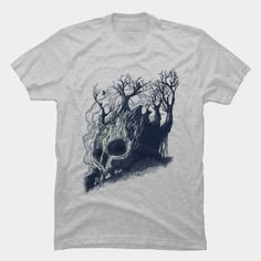 Dead tree with formed like a skull t-shirt.