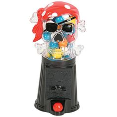 Our Pirate Bubble Gum Machine features a clear skull and crossbones with a red bandana, complete with a pirates eye patch, sitting on a black base. #PirateParty