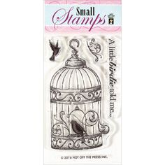 """Hot Off The Press - Clear Stamps - Bird in Cage (2""""x3"""" set),$1.99"""