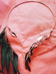 Collar Rose Gold Necklace, Sparkling accessory, Olive leaf necklace pendant, open collier, rose gold neckpiece, present birthday, wedding necklace, birthday gift, cuff necklace rose gold, olive branch necklace Branch Necklace, Snake Necklace, Leaf Necklace, Bridal Necklace, Collar Necklace, Gold Necklace, Pendant Necklace, Jewelry Art, Jewelry Design