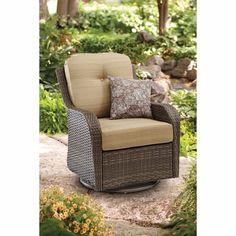 Patio Rocker Swivel Chair Glider Soft Cushion And Pillow Steel Frame Wicker Pool