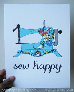 Blue Flowers 8 x 10 Art Print, Sew Happy, Sewing Machine, I love sewing. $17.50, via Etsy.