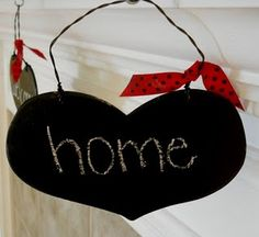 Chalkboard hearts craft for only 25 cents....#Chalkboard #Craft #Goodwill