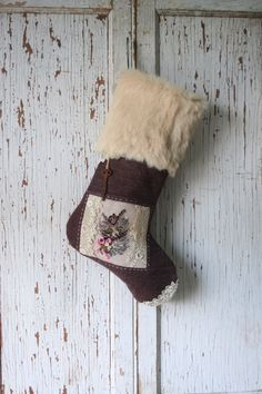 Plum Tweed Christmas STOCKING with Fur Cuff, Kitten Tapestry, Rusty Vintage Key by SmokinTweed on Etsy https://www.etsy.com/listing/231315092/plum-tweed-christmas-stocking-with-fur