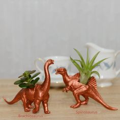 Hand Painted Copper Dinosaur Planter With Plant