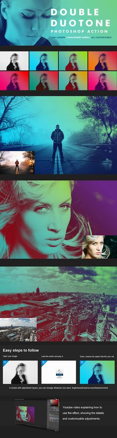▿ [Get Free]◗ Double Duotone Actions Color Colorful Double Duotone Gradient Cool Photoshop, Best Photoshop Actions, Photoshop Tutorial, Photoshop Photography, Photography Tutorials, Wave Illustration, Promotional Banners, Web Design, Black And White Landscape