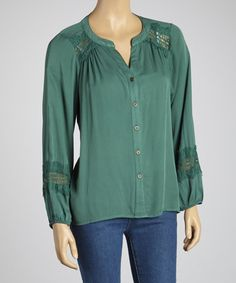 Take a look at this Hunter Green Button-Up Tunic by Figueroa & Flower on #zulily today!