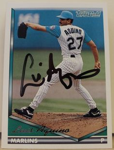 Luis Aquino Florida Marlins Autographed 1994 Topps Gold Card