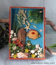 Tropical Fish and sea shell shadow box by CarmelasCoastalCraft