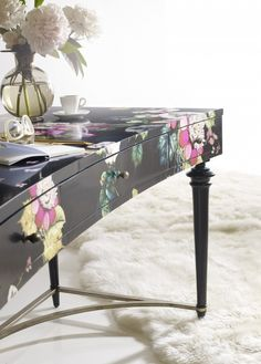 The Fleur de Glee Writing Desk is part of the new Cynthia Rowley by Hooker Furniture brand debuting this week at High Point Market. The desk features a signature Cynthia Rowley print.